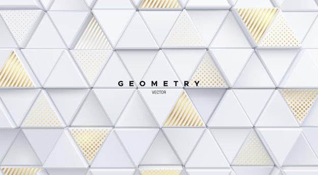 Geometric architectural background of white mosaic triangle shapes textured with golden patterns