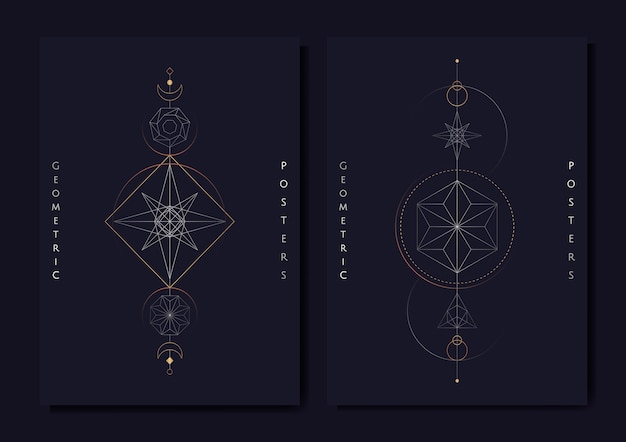 Geometric astrological symbols tarot card