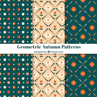 Geometric autumn pattern collection