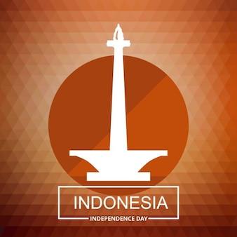 Indonesia torre paese con la tipografia su sfondo rosso