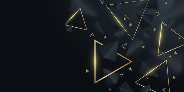 Geometric background of black and golden 3d triangles. stylish design for template, cover, banner, brochure. decorative, polygonal shapes with blur. vector illustration. eps 10