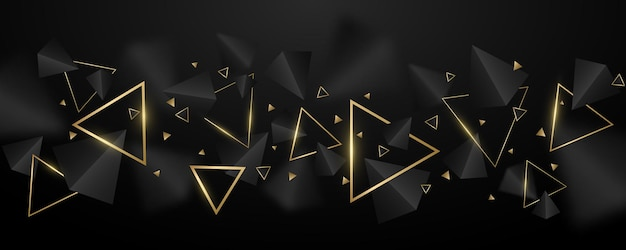 3d、黒と黄金三角形の幾何学的な背景。テンプレート、表紙、バナー、パンフレットのスタイリッシュなデザイン。ぼかしのある多角形。ベクトルイラスト。 eps 10