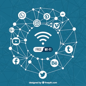Geometric background of social networks and free wifi