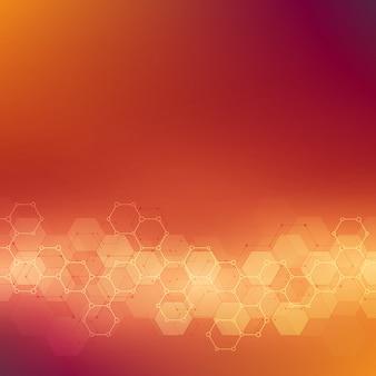 분자 구조와 화학 공학 기하학적 배경 텍스처. 육각형 패턴의 추상 배경입니다.