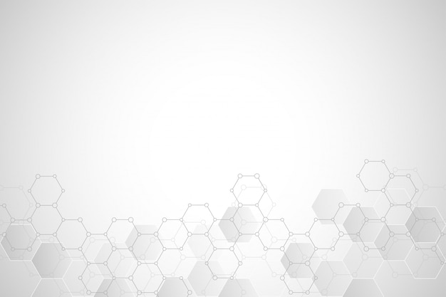 Geometric background texture with molecular structures and chemical compounds