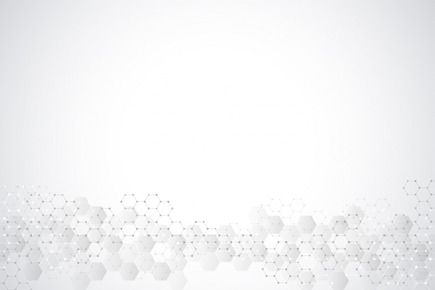 Geometric background texture with molecular structures and chemical engineering. abstract background of hexagons pattern.