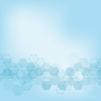 Geometric background texture with molecular structures and chemical engineering.
