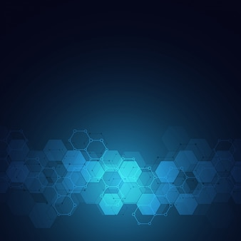 Geometric background texture with molecular structures and chemical engineering