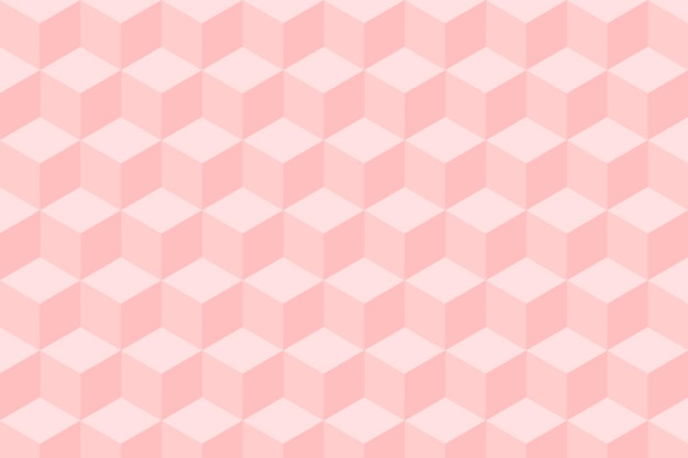 Геометрический фон вектор в розовых кубических узорах