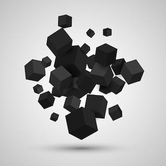 3d黒い立方体と幾何学的な背景。