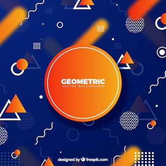 Geometric background with blue and orange color