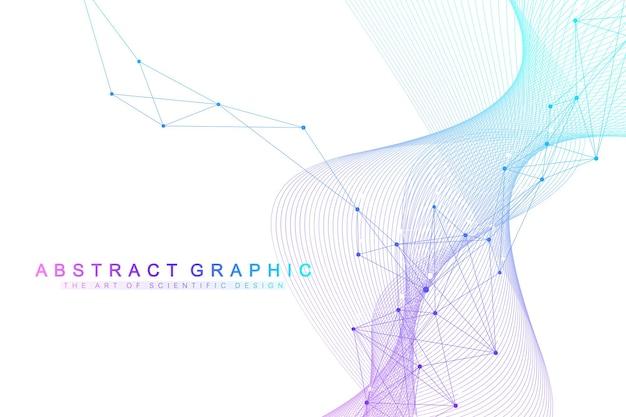 接続された線と点を持つ幾何学的な背景