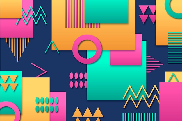 Geometric background with different colorful shapes
