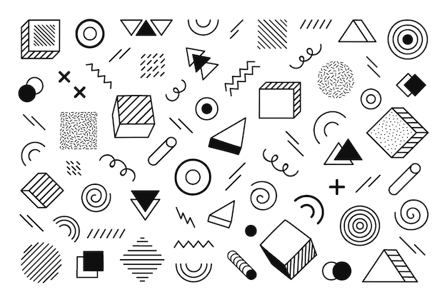 Geometric background with different hand drawn abstract shape. universal trend halftone geometric shapes. modern  illustration.