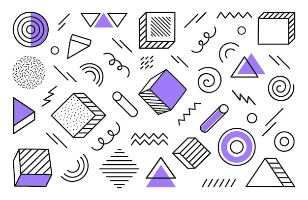 Geometric background with different hand drawn abstract shape. universal trend halftone geometric shapes with violet elements. modern  illustration.