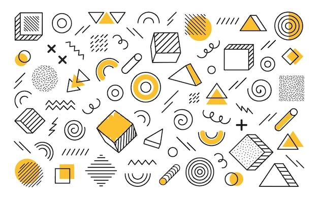 別の手で幾何学的な背景には、抽象的な形が描かれています。黄色の要素を持つ普遍的なトレンドハーフトーンの幾何学的図形。モダンなイラスト。