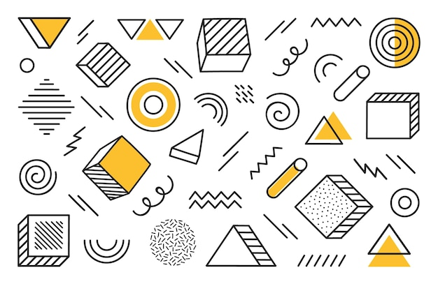 Geometric background with different hand drawn abstract shape. universal trend halftone geometric shapes with yellow elements. modern  illustration.