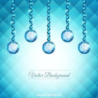 宝石が吊るされた幾何学的な背景