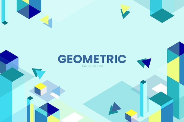 Geometric background with isometric rectangle simple vector design