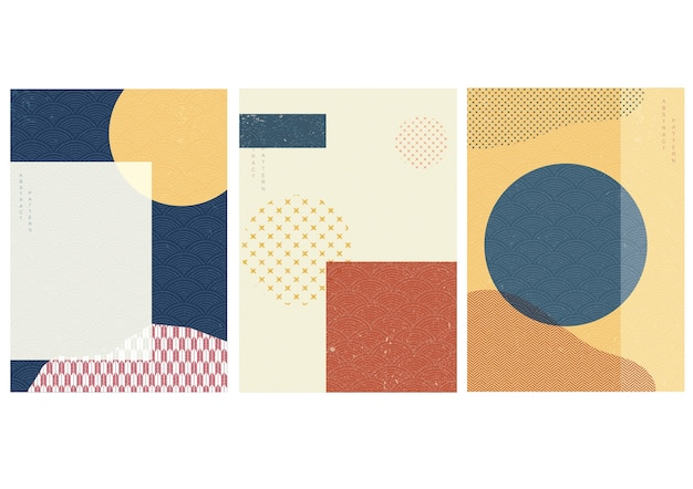 Geometric background with japanese pattern . circle shape template with abstract element in vintage style.