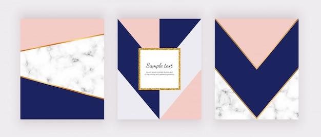 Геометрический фон с мраморной текстурой и розовыми, серыми, синими треугольниками. золотая рамка с блестками