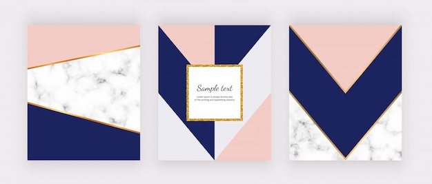 Geometric background with marble texture and pink, gray, blue triangles. golden glitter frame