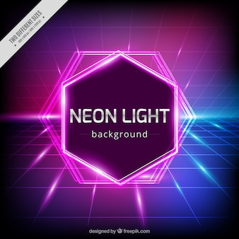 Geometric background with neon lights