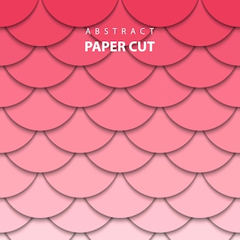 Geometric background with red and pink paper cut