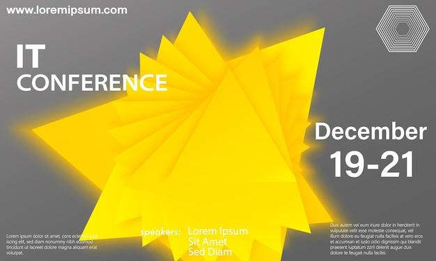 幾何学的な背景。黄色の幾何学的形状。最小限の抽象的なカバーデザイン。トレンディな色のポスター。