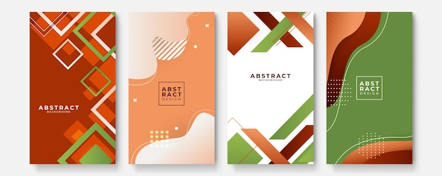 Geometric backgrounds set with modern abstract color gradient patterns. smooth templates collection for brochures, posters, banners, flyers and cards. vector illustration.
