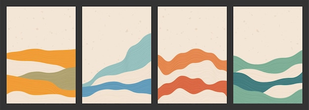Geometric backgrounds with line wave patterns abstract template with mountains in japanese style