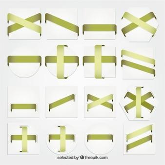 緑のリボンとの幾何学的なバッジコレクション