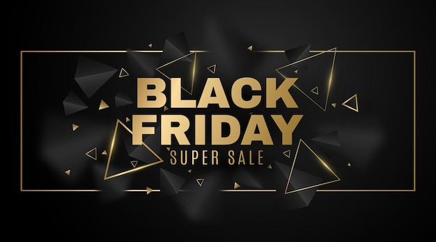 Geometric banner of 3d, black and golden triangles for black friday sale. frame with elegant, decorative polygonal shapes. commercial discount event. vector illustration. eps 10