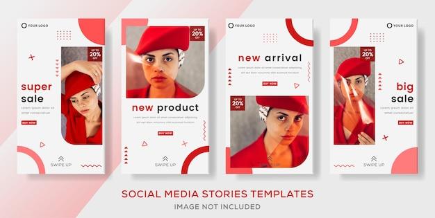 Geometric banner template for fashion sale storis post.