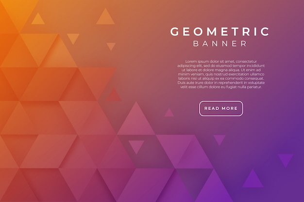 Geometric banner template with triangular shapes