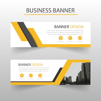 Geometric banners template with yellow shapes