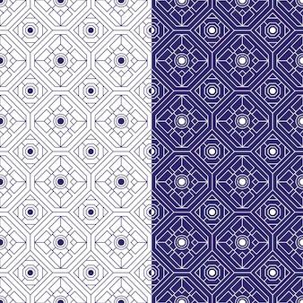 幾何学的なバティックのシームレスなパターン背景。