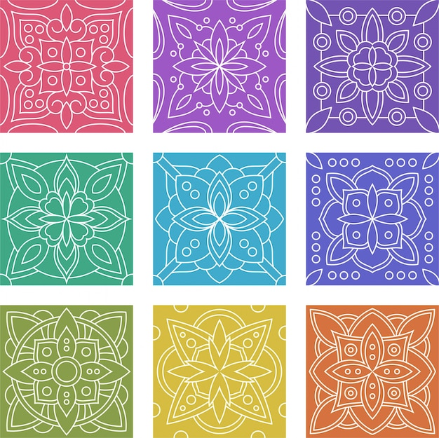 Geometric batik tile seamless pattern collection set