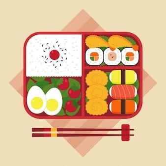 幾何学的な弁当箱のイラスト