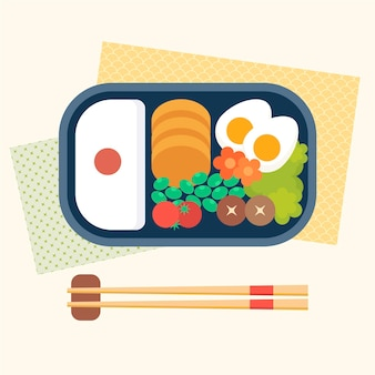 Geometric bento box illustration