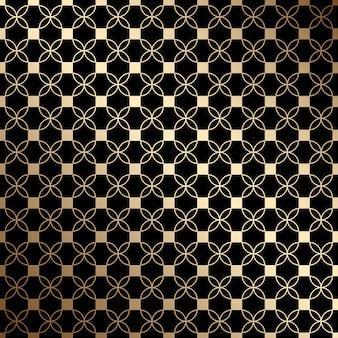 定型化された花、アールデコ様式の幾何学的なブラックとゴールドのシームレスパターン
