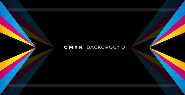 Geometric black background with cmyk colors