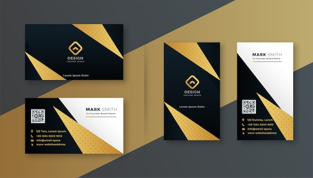 Geometric black and gold professional business card design