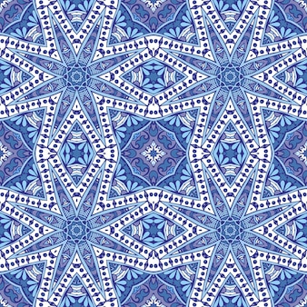 幾何学的な青と白のセラミックデザイン