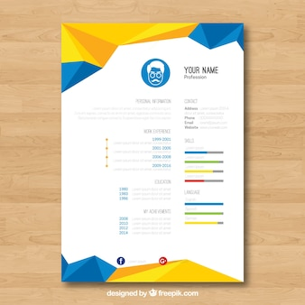 Geometric blue and yellow resume template