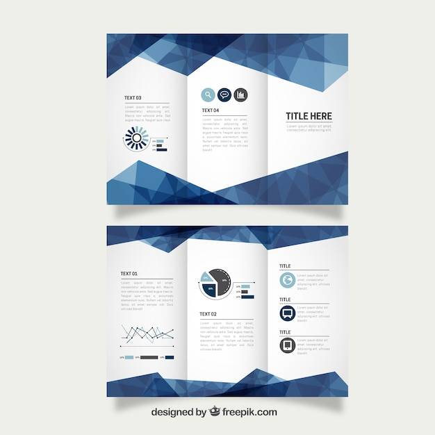 Геометрическая синий бизнес trifold