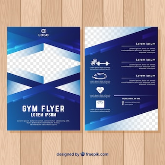 Geometric blue gym cover template
