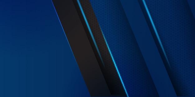 黒のストライプの背景を持つ幾何学的な青い素材