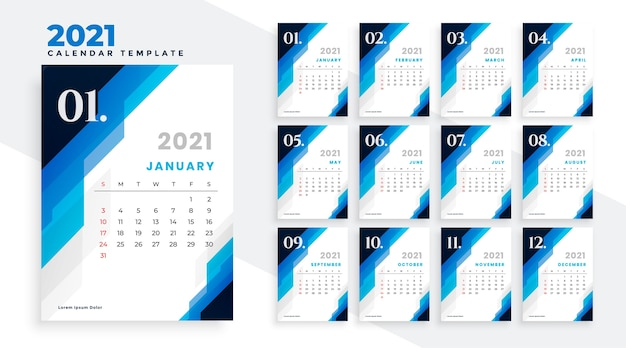 Geometric blue new year 2021 calendar design template