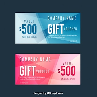 Geometric blue and pink gift voucher set